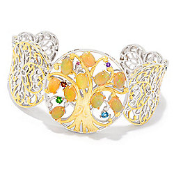 Bracelets - Gems en Vogue 7 Golden Opal & Multi Gemstone Tree of Life Cuff Bracelet - 175-496