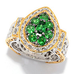 Gems en Vogue Tsavorite Garnet Pear Shaped Cluster Halo Ring