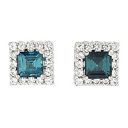 Gems en Vogue 14K White Gold 2.07ctw Indicolite & White Zircon Halo Stud Earrings