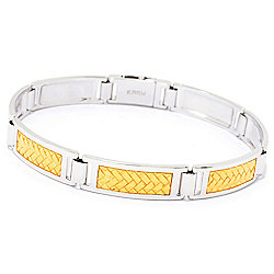 Bracelets - EFFY Men's Sterling Silver 8.5 or 9.5 Woven Inlay Two-tone Link Bracelet - 175-722