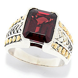 80982b0d5086b3 EFFY Men's Sterling Silver & 18K Gold 6.40ctw Emerald Cut Garnet Ring