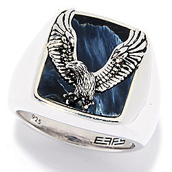 Men's - EFFY Men's Sterling Silver 16 x 13mm Pietersite Eagle Overlay Ring - 175-729