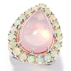 Gems en Vogue 18 x 13mm Madagascar Rose Quartz & Ethiopian Opal Halo Ring