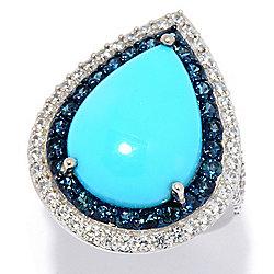 ac515dfaae2e Gem Treasures® 14K White Gold 18 x 13mm Sleeping Beauty Turquoise   Multi  Gem Ring