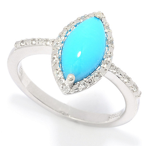 4b88d7f70 Gem Treasures® Sterling Silver Sleeping Beauty Turquoise & White Zircon Ring
