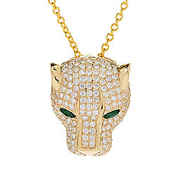 Signature - EFFY Signature 14K Gold 3.27ctw Diamond & Emerald Panther Pendant w 20 Cable Chain - 175-881
