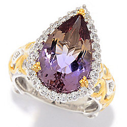 Gems en Vogue 6.78ctw Pear Shaped Blended Ametrine & White Zircon Halo Ring