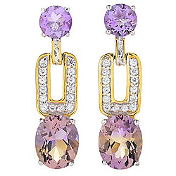 "Gems en Vogue 1"" 7.01ctw Oval Ametrine, Amethyst & White Zircon Drop Earrings"