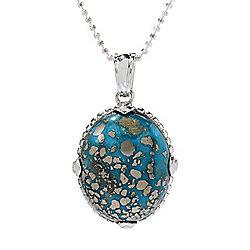 Gem Insider® Sterling Silver 25 x 20mm Oval Persian Nishapura Turquoise Pendant - 176-149