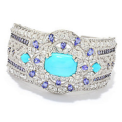 Gem Treasures® Sterling Silver Sleeping Beauty Turquoise & Multi Gem Bracelet - 176-163