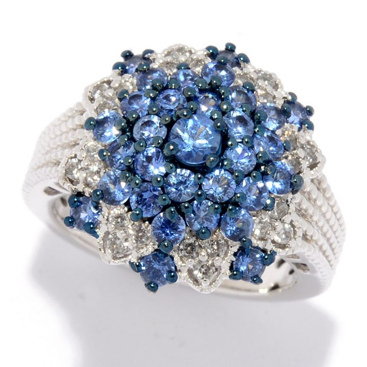 Sapphire Jewelry Serene and Stunning at ShopHQ | 176-176 Gem Treasures® Sterling Silver 1.36ctw Ceylon Blue Sapphire & White Zircon Ring