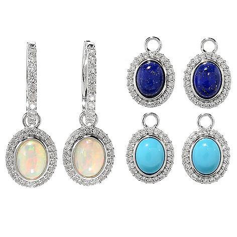 5d3ad01b2b053f Gem Insider® Sterling Silver Hoop Earrings w/ Set of 3 Gemstone Halo Drop  Charms