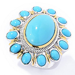 Gem Insider® Sterling Silver Sleeping Beauty Turquoise Flower Ring