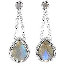 "Gem Insider® Sterling Silver 2"" Pear Shaped Labradorite Drop Earrings"