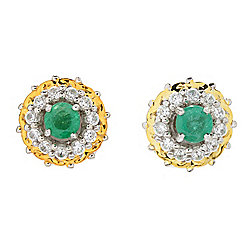 Gems en Vogue Zambian Emerald Stud Earrings w/ White Zircon Jackets