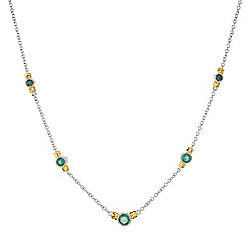 "Gems en Vogue 18"" Graduated Zambian Emerald Station Necklace w/ 2"" Extender"