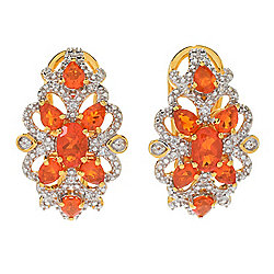 NYC II® 1.77ctw Fire Opal & White Zircon Filigree Huggie Hoop Earrings