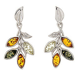 Earrings - 176-323 Gemporia Sterling Silver 1 Marquise Cut Tri-Color Baltic Amber Gem Earrings - 176-323