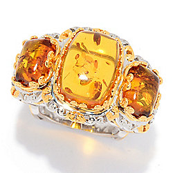 Gems en Vogue 14 x 10mm Cushion Shaped Amber 3-Stone Euro Shank Ring