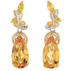 Gems en Vogue 3.78ctw Rio Grande Madeira Citrine & Yellow Sapphire Drop Earrings