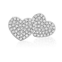 Dettaglio 14K Gold 0.24ctw Diamond Heart Stud Earrings - 176-348