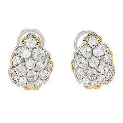 Gems en Vogue 3.97ctw Multi Shape White Zircon Cluster Stud Earrings