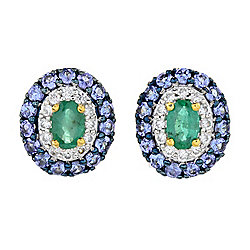 Gems en Vogue 2.71ctw Oval Belmont Emerald, Tanzanite & Zircon Stud Earrings