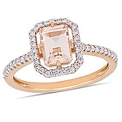 Julianna B 14K Rose Gold 1.15ctw Morganite & Diamond Floating Halo Ring