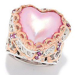 Gems en Vogue 18mm Pink Mabe Cultured Pearl & Rhodolite Heart Ring