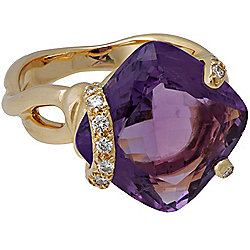 Estate Jewerly - Chanel 18K Gold 10.08ctw Amethyst & Diamond Ring Size 6.5 - Pre-Owned - 176-868