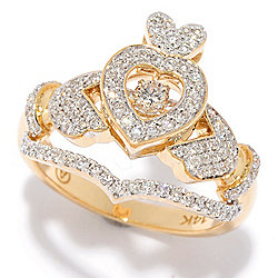 176-937 Beverly Hills Elegance® 14K Gold 0.60ctw Diamond Studded Claddaugh Heartbeat Ring - 176-937