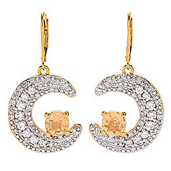 "Gem Treasures® 1.5"" 4.10ctw Ceylon Peach Garnet & Zircon Moon Drop Earrings"