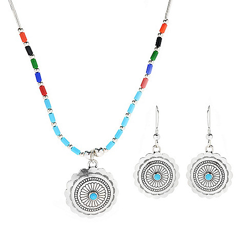 Sunwest_Silver Choice_of_Concho or_Heart_Simulated Gemstone_Necklace &_Earrings_Set
