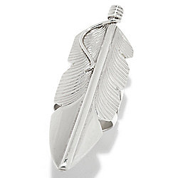 Sunwest Silver Elongated North-South Feather Split Shank Ring, 11.3 grams