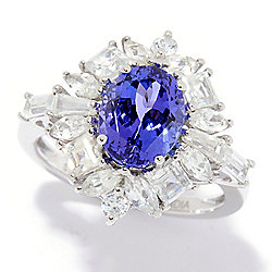 440ef75318bf3a Gem Treasures® 14K White Gold 3.71ctw Oval AAA Tanzanite & White Zircon Ring