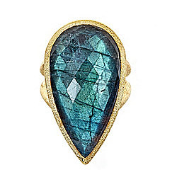1cd1d0973 Hilary Joy Couture 18K Gold Embraced™ Pear Labradorite & Onyx Doublet Ring