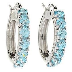 "Gem Insider® Sterling Silver 1"" 4.34ctw Arctic Blue Zircon Hoop Earrings"