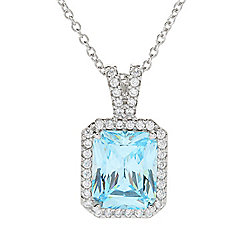 Necklaces & Pendants - Victoria Wieck for Brilliante® 11 x 9mm Simulated Aquamarine Halo Pendant w 18 Chain - 177-142