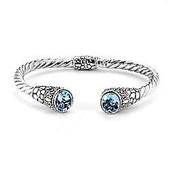 Artisan Silver by Samuel B. 6.75 6.00ctw Oval Blue Cuff Bracelet - 177-159