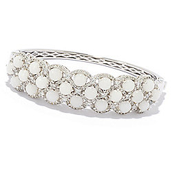 Bracelets - Victoria Wieck Collection Sterling Silver White Jade & Gem Bangle Bracelet - 177-197