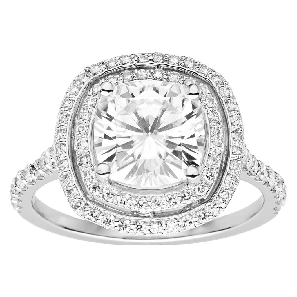 Moissanite by Charles & Colvard 14K White Gold GHI 3 60 DEW Cushion Halo  Ring