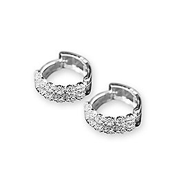 db9dfdd55fd1e5 Image of product 177-585. QUICKVIEW. Italian Sterling Silver 4.00 DEW  Simulated Diamond Double Row Huggie Hoop Earrings