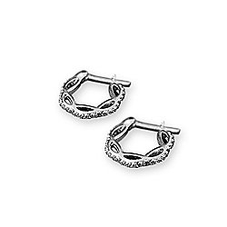 fb154136bab7ac Image of product 177-587. QUICKVIEW. Italian Sterling Silver 4.00 DEW  Simulated Diamond Huggie Hoop Earrings