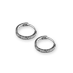 fa9c2869353135 Image of product 177-588. QUICKVIEW. Italian Sterling Silver 4.00 DEW  Simulated Diamond Huggie Hoop Earrings