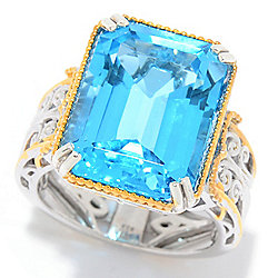 Topaz - Gems en Vogue 14.70ctw Step Cut Super Swiss Blue Topaz Cocktail Ring - 177-607