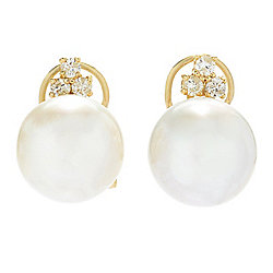 Kwan Collections 14K Gold 11-12mm Australian South Sea Cultured Pearl & Diamond Earrings