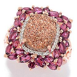 Victoria Wieck Collection 12 x 10mm Drusy, White Zircon & Gemstone Halo Ring - 177-663