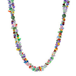 "Kwan Collections Sterling Silver 32"" Multi Color Jade Bead Necklace w/ 2"" Extender"