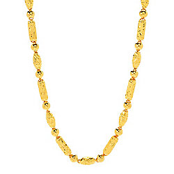 177-696 Lambert Cheng 24K Gold 18in Semi-Solid Bamboo Link & Bead Necklace - 177-696