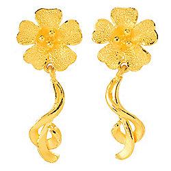 24K - Lambert Cheng 24K Gold Flower Stud Earrings w 1 Drops - 177-706